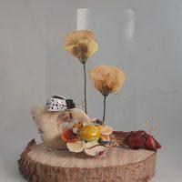 Combinatie van glas,droogbloemen